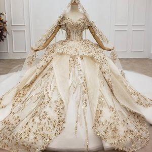 Gold lace wedding dress long train
